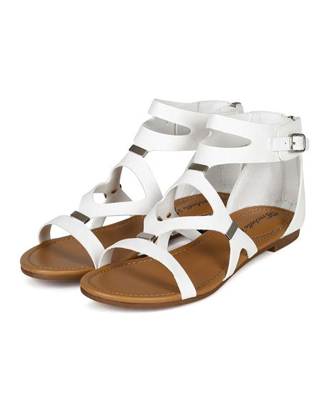 New Sandal Flat Raisa new breckelles ruby 51 leatherette strappy cut out flat gladiator sandals ebay