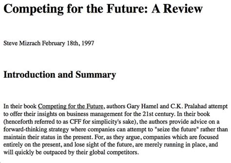 Competing For The Future A Review Competing For The