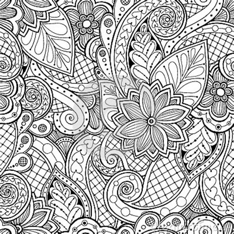 coloring book wallpaper seamless background in vector with doodles flowers and