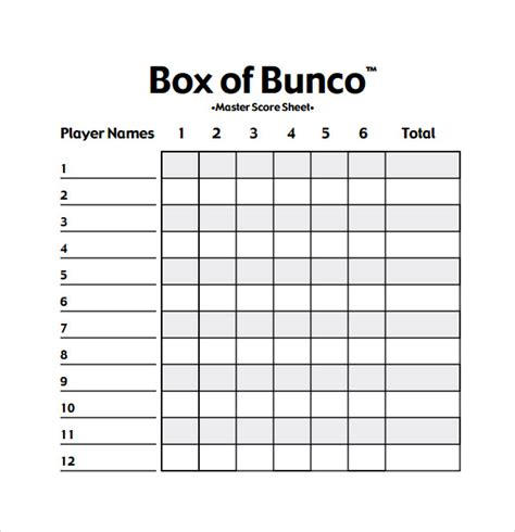 bunco templates bunco score sheets template 10 documents in