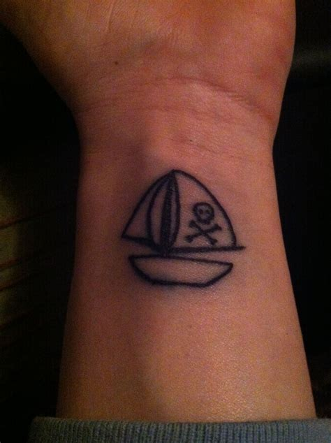really cool small tattoos my new tiny sailboat w skull crossbone me