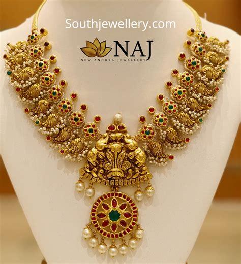 traditional peacock necklace  naj jewellery jewellery designs
