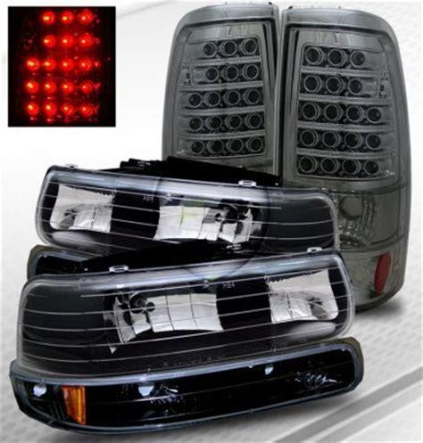 2004 tahoe lights chevy tahoe 2000 2006 black headlights and smoked led