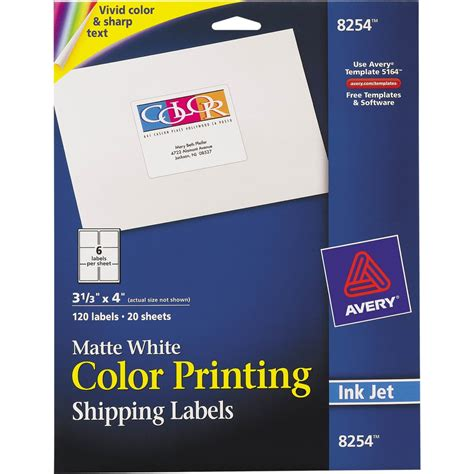 Avery Color Printing Mailing Labels 3 1 3 In X 4 In Matte White 120 Pk Labels Label Avery 3 4 Labels Template