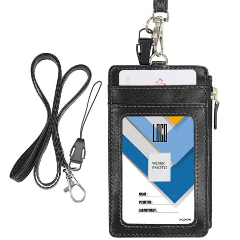 Id Card Holder Id Card Cover Id Card Kulit Id Card Name Tag 288 badge holder with zip wisdompro 2 sided vertical style pu