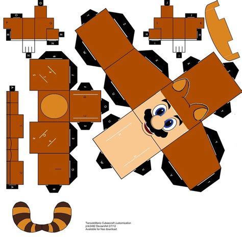tanooki mario papercraft cubeecraft by jmk3482 on deviantart