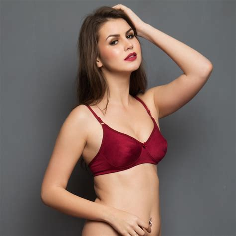 Or Bra cotton rich non padded wirefree t shirt bra in maroon