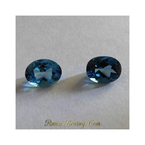 Batu Blue Topaz 4 50 Karat promo set 2 pcs permata blue topaz oval cut