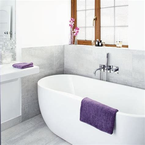 grey and white bathroom with coloured accessories housetohome co uk