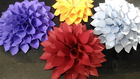 How To Make Realistic Paper Flowers - how to make easy and realistic dahlia paper flower