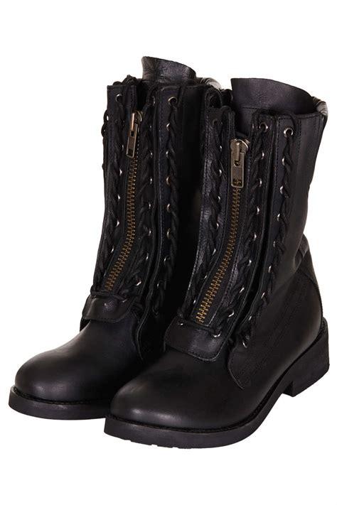 lace up biker boots lyst topshop ask lace up biker boots in black