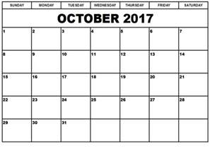 A Calendar For The Month Of October 2017 October 2017 Printable Calendar Printable Calendar Templates