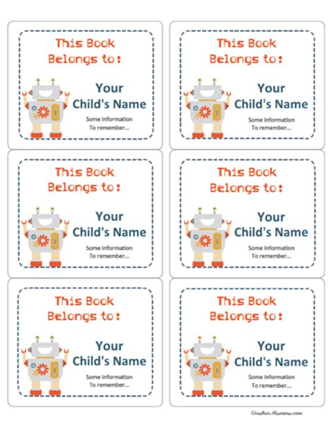 books printable for free free printable labels for school books www