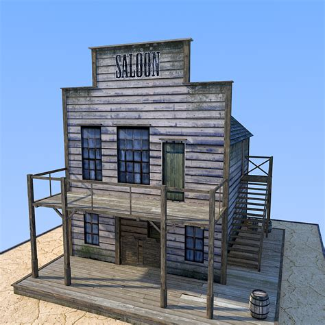 Micro Cottage With Garage wild west saloon 3d models 1971s