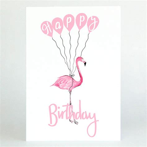 birthday card pink flamingo happy birthday card by de fraine design