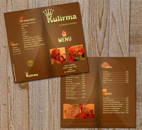 Free Menu Card Template Indesign by Restaurant Menu Brochure Psd