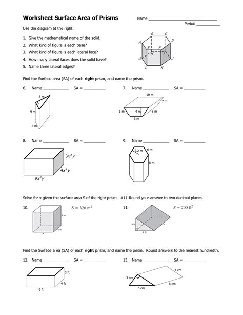 Surface Area Of Triangular Prism Worksheet by 14 Best Images Of Prisms And Pyramids Describe Worksheets