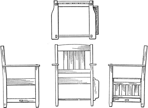 chair side view drawing orthographic projection of arm chair clipart etc