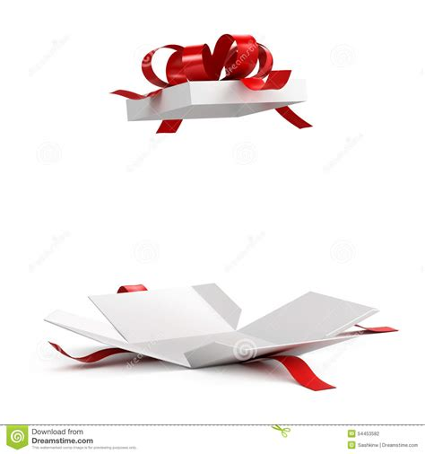 Gift Opening - open gift box with ribbon stock illustration image