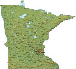 Mn State Map by Detailed Minnesota Map Mn Terrain Map