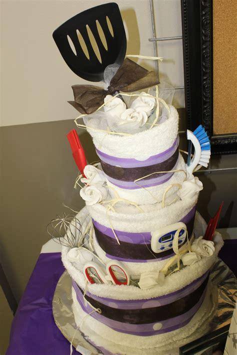 how to make a tea towel cake for bridal shower domestic randomness diy towel cake tutorial