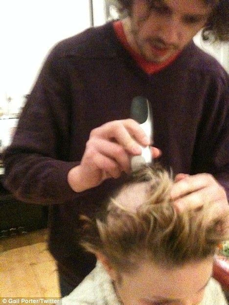 how to shave hair parting with clippers gail porter debuts shaven her head at tangled premiere