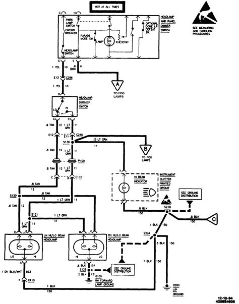 chevrolet headlight dimmer switch wiring diagram