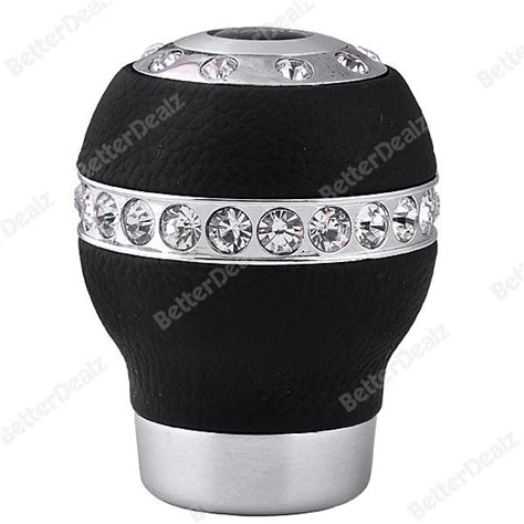 Girly Gear Shift Knobs by New Rhinestones Decorated Black Leather Alloy Gear Shift