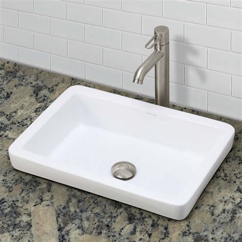 semi recessed bathroom sink decolav ambre 1453 cwh semi recessed rectangular