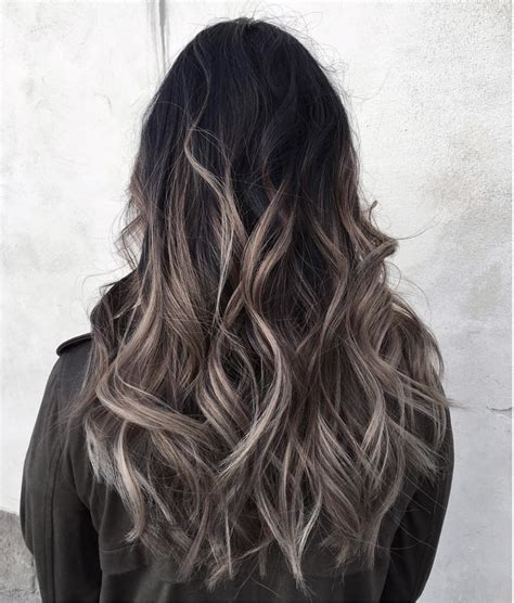pictures of dark brown hair with gray highlights grey ombr 233 hair colour and highlights long hair styles