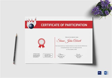 Bowling Certificate Template by Bowling Certificate Design Template In Psd Word