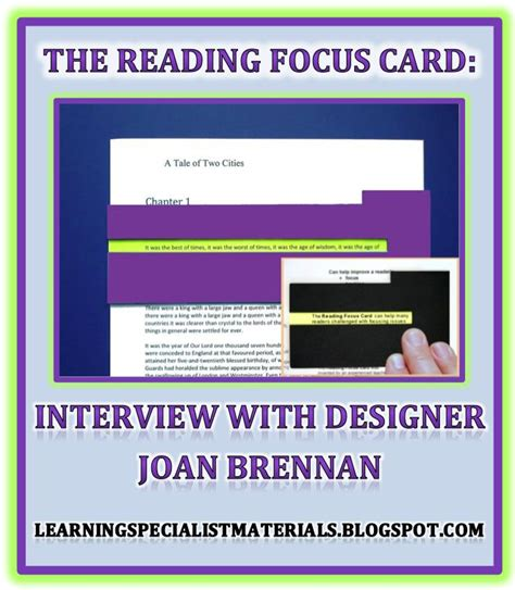 Reading Focus Card Template by The Reading Focus Card An With Designer Joan