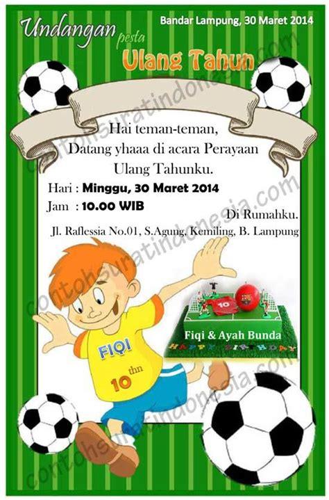 desain undangan ulang tahun contoh undangan ulang tahun anak laki laki tema sepak bola