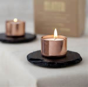 Wide Candle Holder Copper And Slate Candle Holder By Slated