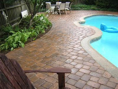 paver brick pool deck with brown concrete and pavers maybe pavers around the pool instead of concrete home