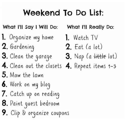 I Did A Lot This Weekend I Attended by Weekend To Do List What I Ll Say I Will Do What I Ll