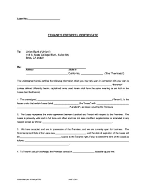 Bank Estoppel Letter tenant certificate fill printable fillable