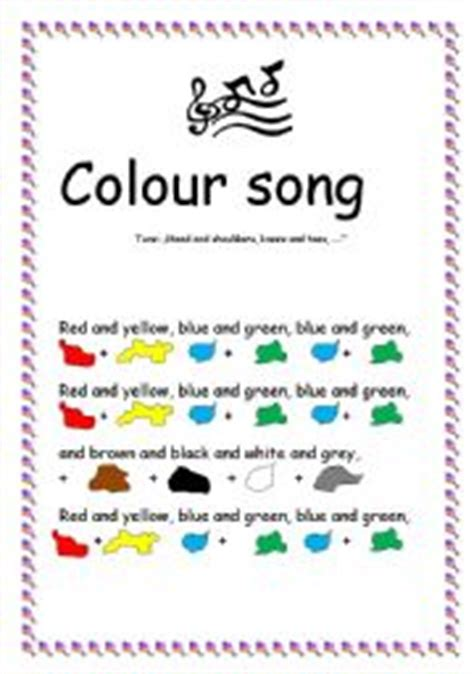 colour song worksheet colour song b w