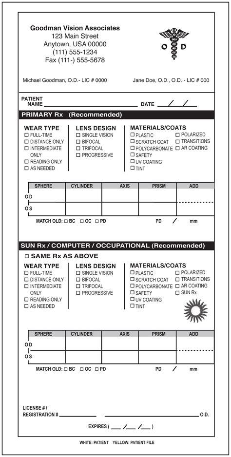 Keskes Printing Optometrists Optometry Form Template