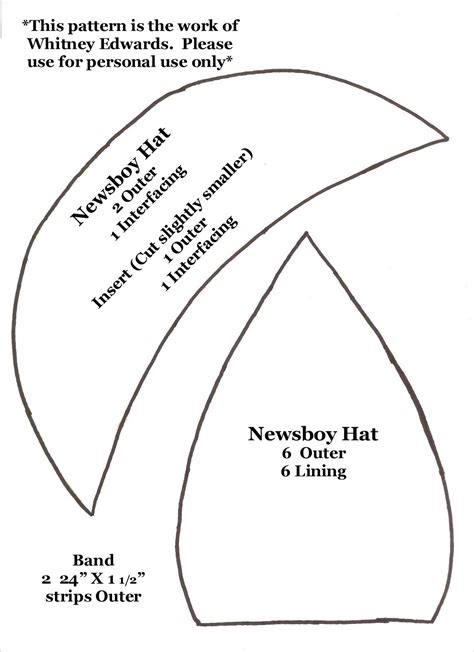 paper pattern of vdo whitney sews newsboy hat pattern and link to great you