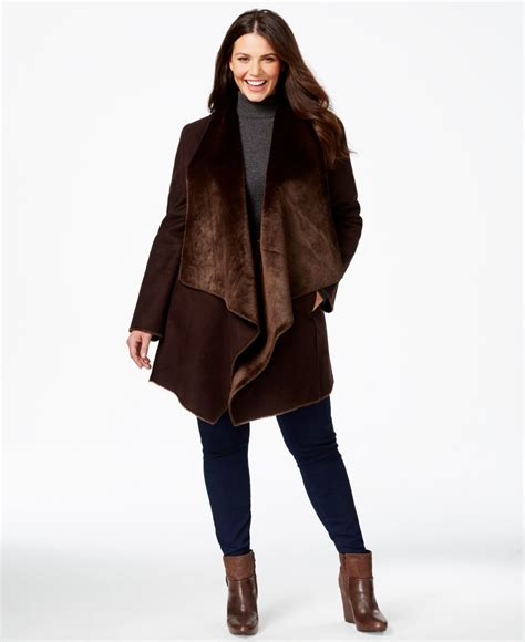 faux shearling drape jacket calvin klein plus size draped faux shearling coat in brown
