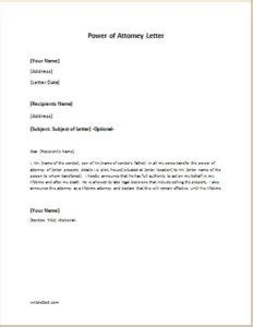 Writing A Power Of Attorney Letter by Power Of Attorney Letter Sle Template Writeletter2