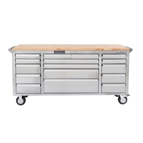 stainless steel workbench cabinets husky 52 in 10 mobile workbench with solid wood