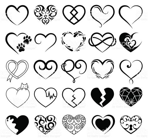 set of 25 tattoo hearts image vector symbol stock vector
