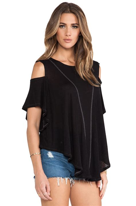 Free Top Free Cold Shoulder Top In Black Lyst