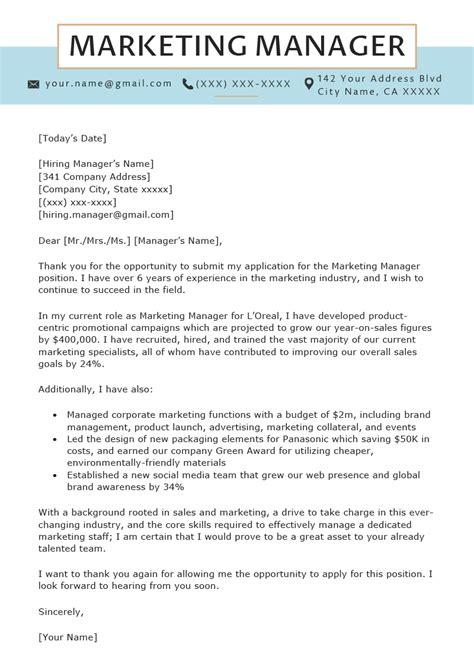 marketing manager cover letter sample resume genius
