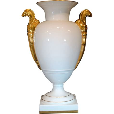 portuguese vista alegre white porcelain and gold gilt urn