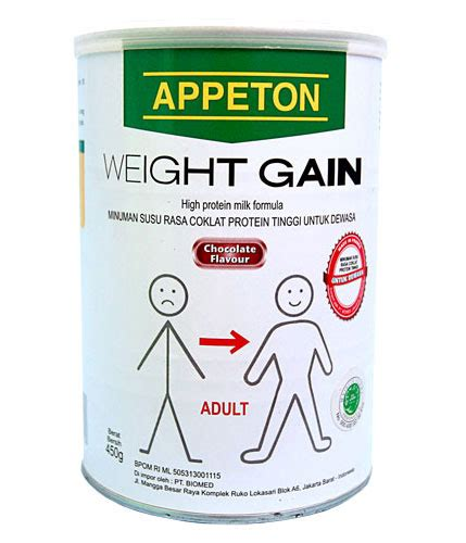 Appeton Weight Gain 250gr milk powder appeton weight gain chocolate flavor 450