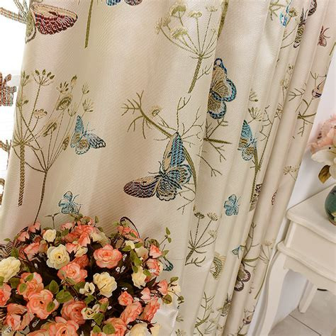 butterfly material for curtains high level big jacquard colorful silk living room curtains