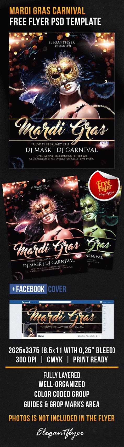 Mardi Gras Carnival Free Flyer Psd Template By Elegantflyer Mardi Gras Flyer Template Free